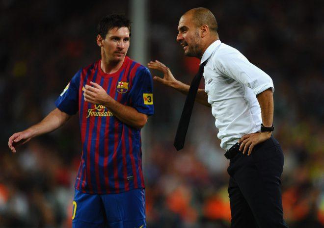 Lionel Messi dan pep guardiola