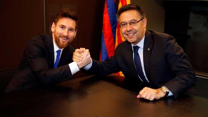 Josep Maria Bartomeu dan Lionel Messi